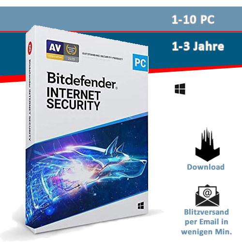 Bitdefender Internet Security, 1/3/5/10 Geräte - 1/2/3 Jahre, Download (2021)