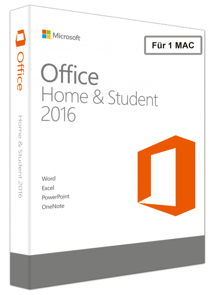 Microsoft Office Home and Student 2016 für MAC - PKC 1 PC -NEU-