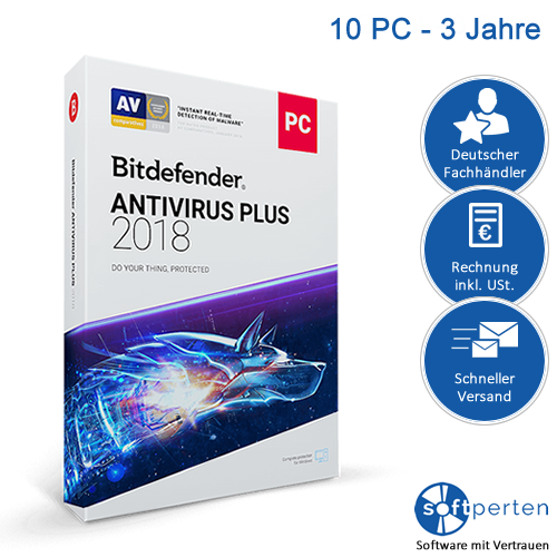 BitDefender Antivirus Plus 2018 (10 User, 3 Jahre)