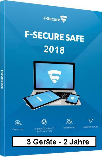 F-Secure GmbH F-Secure Safe Internet Security 2018, 3 Geräte - 2 Jahre, ESD, Download Win/Mac/Android/iOS FCFXBR2N003D8