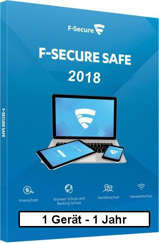 F-Secure GmbH F-Secure Safe 2018, 1 Gerät - 1 Jahr, ESD, Download Win/Mac/Android/iOS FCFXBR1N001D8