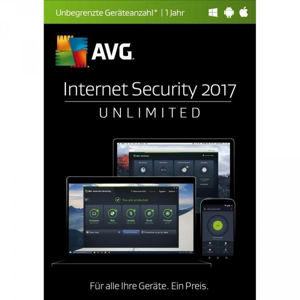AVG Internet Security 2017 Unlimited - 1 User - 1 Jahr - beliebig viele Geräte, Download, Deutsch