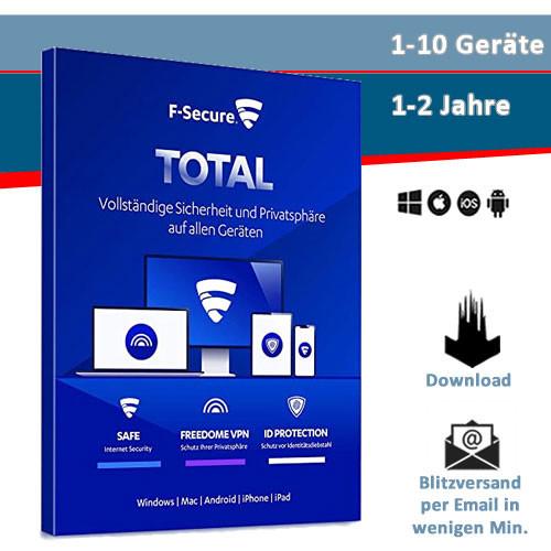 F-Secure Total Security inkl. VPN - 1/3/5/10 Geräte - 1 oder 2 Jahre, Download (2021)