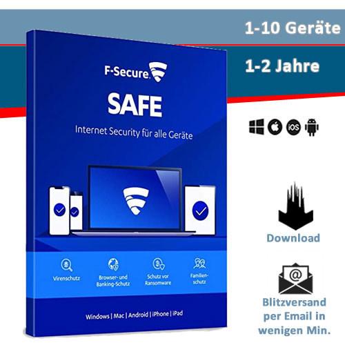 F-Secure Safe 2021, 1/3/5/10 Geräte, 1 oder 2 Jahre, Download