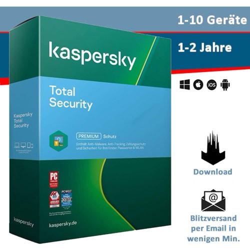 Kaspersky Total Security 2021 - 1/3/5/10 Geräte, 1 oder 2 Jahre, Download